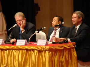 From Left to Right: Dr. David Chandler, Ek Sereywath, and Dr.   Kenton Clymer / by: Dara Saoyuth