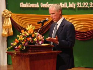 "Ambassador Kent Wiedemann presenting about ""The Early Years of Cambodia's Democracy"" / by: Dara Saoyuth"
