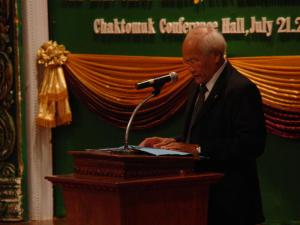 "Chuch Phoeurn, Secretary of State, Ministry of Culture of Fine Arts giving a speech on ""Cultural Exchanges between the U.S and Cambodia"" / by: Dara Saoyuth"