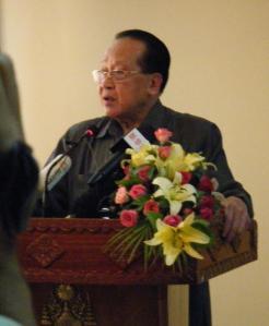 Hor Namhong during a press conference on Friday / Photo by: Dara Saoyuth