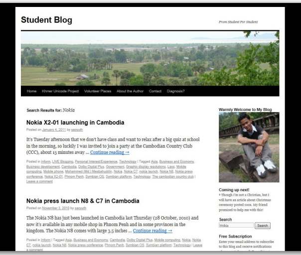 Student Blog Page
